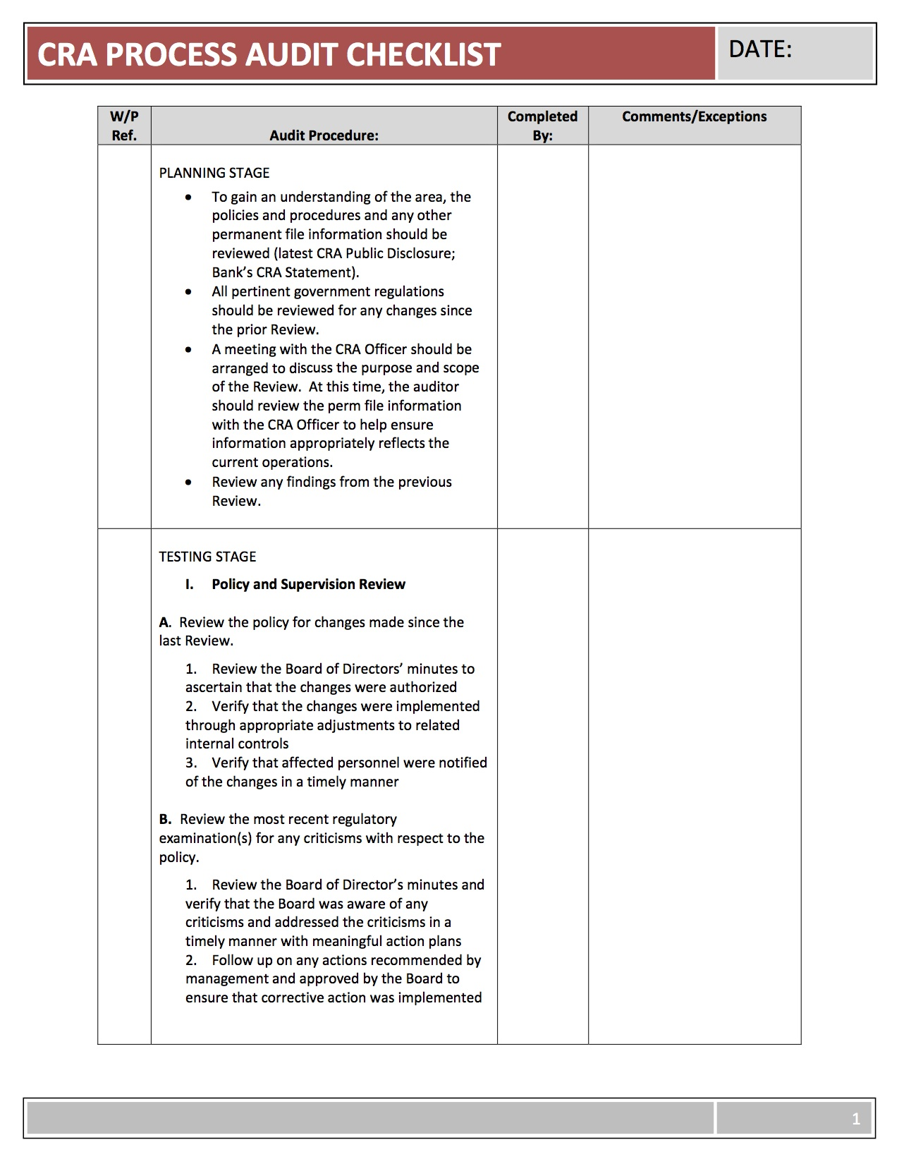 Cra program template geodatavision for Audit workpaper template
